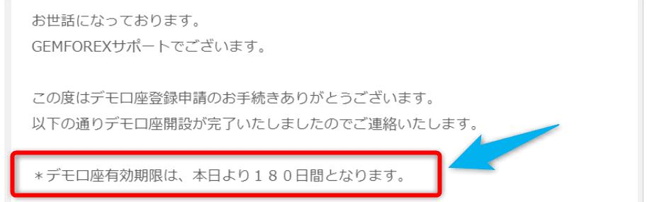 【GEMFOREX】デモ口座有効期限は180日間